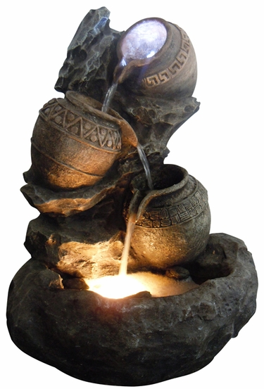 Aztec Pots Fountain w/LED Lights - Click to enlarge