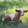 Baby Calf Statue - Brown/White