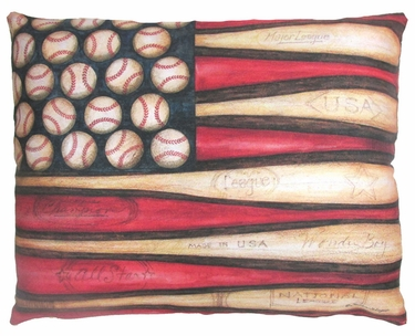 Baseball Flag Outdoor Pillow - Click to enlarge