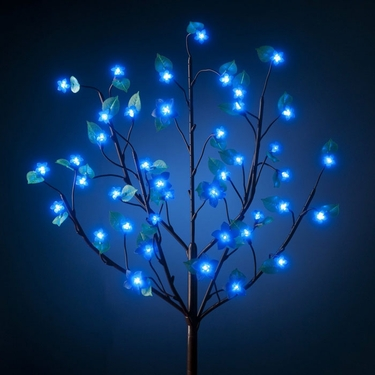 Battery Powered LED Bush w/Leaves - Blue - Click to enlarge