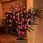 Battery Powered LED Bush w/Leaves - Pink