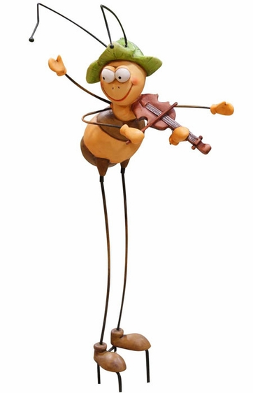 Bee Playing Violin Garden Stake - Click to enlarge