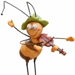 Bee Playing Violin Garden Stake