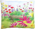 Bench in Garden Outdoor Pillow