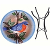 Big Bluebird Glass Birdbath w/Stand