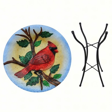 Big Red Cardinal Glass Birdbath w/Stand - Click to enlarge