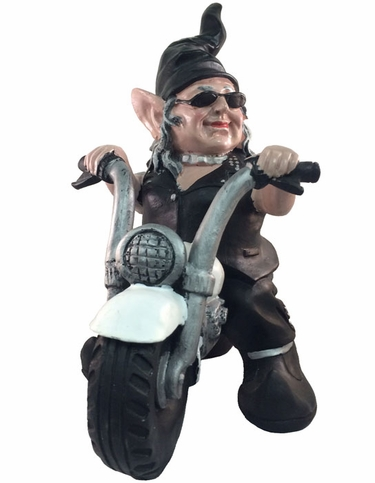 Biker Babe Gnome On White Bike