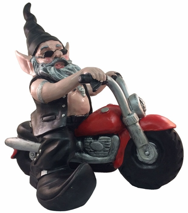 Biker Gnome on Red Bike - Click to enlarge