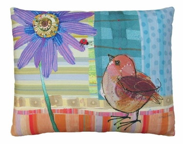 Bird and Ladybug Outdoor Pillow - Click to enlarge