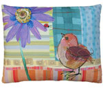 Bird and Ladybug Outdoor Pillow