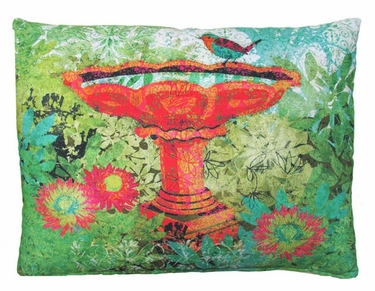 Bird Bath Outdoor Pillow - Click to enlarge