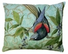 Bird on Vine Green Outdoor Pillow