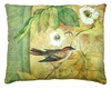 Bird on Vine White Flowers Outdoor Pillow