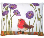 Bird w/Purple Poppies Outdoor Pillow