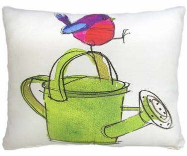 Bird w/Watering Can Outdoor Pillow - Click to enlarge