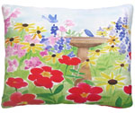 Birdbath in Garden Outdoor Pillow