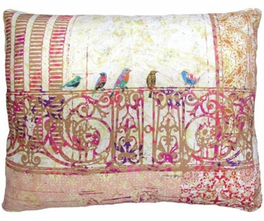 Birds on Balcony Outdoor Pillow - Click to enlarge