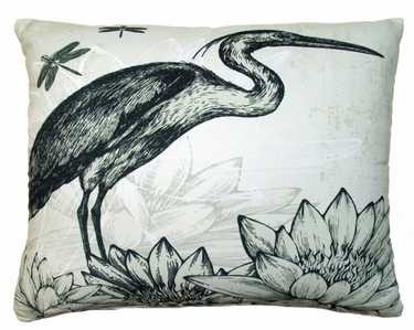 Black Heron Outdoor Pillow - Click to enlarge
