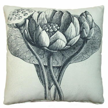 Black Lotus Outdoor Pillow - Click to enlarge