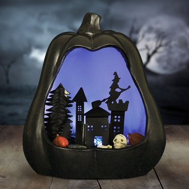 Black Pumpkin w/LED Night Scene - Click to enlarge