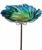 Blue Glass Bird Bath/Feeder Stake
