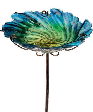 Blue Glass Bird Bath/Feeder Stake - Click to enlarge
