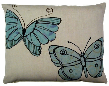 Blue Butterflies Outdoor Pillow - Click to enlarge