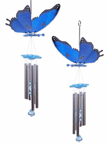 Blue Butterfly Wind Chimes (Set of 2) - Click to enlarge
