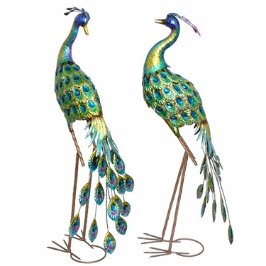 Colorful Blue Peacock Birds (Set of 2) - Click to enlarge