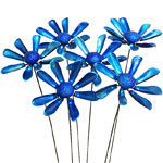 Blue Daisy Flower Garden Stakes (Set of 6)