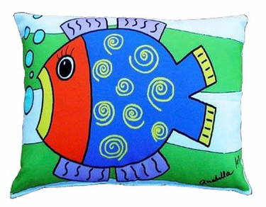 Blue Fish Outdoor Pillow - Click to enlarge