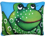 "Blue Frog Outdoor Pillow (18"" x 18"")"