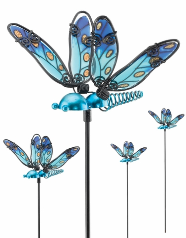 Blue Glass Dragonfly Picks (Set of 6) - Click to enlarge