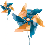 Blue & Gold Pinwheel Stakes (Set of 4)