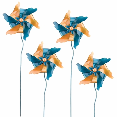 Blue & Gold Pinwheel Stakes (Set of 4) - Click to enlarge