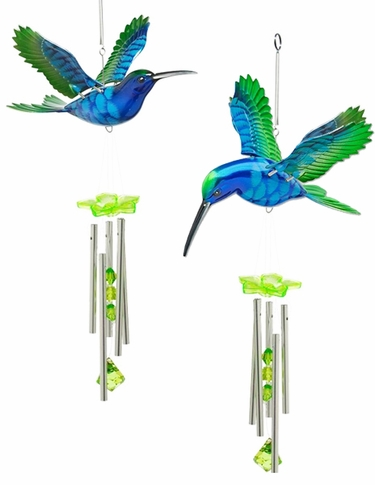 Blue/Green Hummingbird Wind Chimes (Set of 2) - Click to enlarge