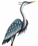 "44"" Blue Heron Garden Bird - Upright"