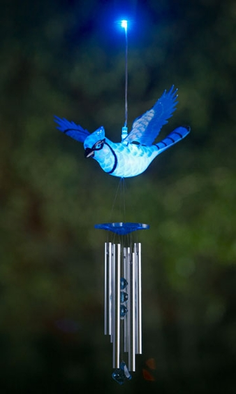Blue Jay LED Light Wind Chime - Click to enlarge