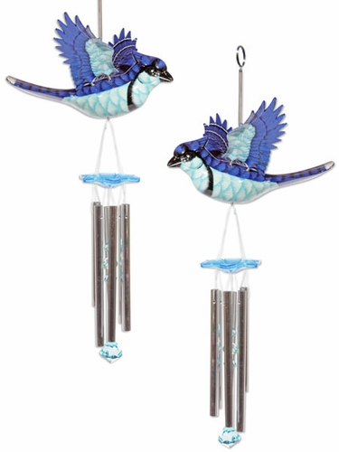 Blue Jay Hanging Wind Chimes (Set of 2) - Click to enlarge