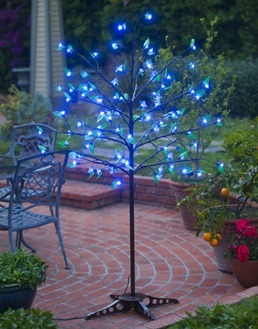Blue LED Cherry Blossom Tree w/Leaves! - Click to enlarge