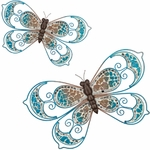 Blue Mosaic Wall Butterflies (Set of 2)