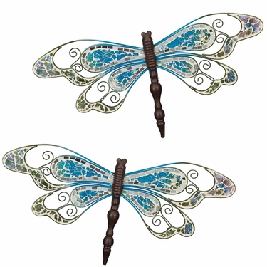 Blue Mosaic Wall Dragonflies (Set of 2) - Click to enlarge
