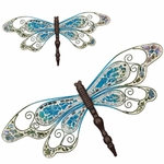Blue Mosaic Wall Dragonflies (Set of 2)