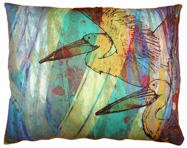 Blue Pelicans Outdoor Pillow - Click to enlarge