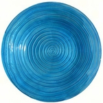 Blue Swirls Glass Birdbath w/Stand