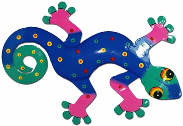 Blue Teal Gecko Wall Decor - Click to enlarge