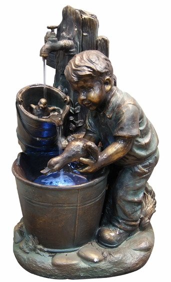 Boy Bathing Ducks Outdoor Fountain w/LED Lights - Click to enlarge