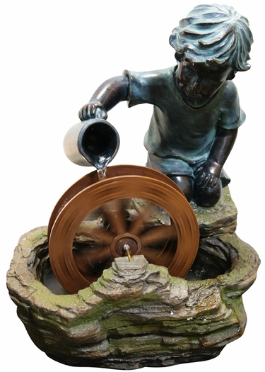 Boy w/Spinning Wheel Outdoor Fountain - Click to enlarge
