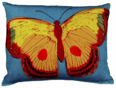 Brilliant Butterfly Blue Outdoor Pillow - Click to enlarge