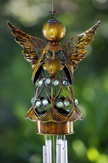Bronze Angel w/Heart Wind Chime - Click to enlarge